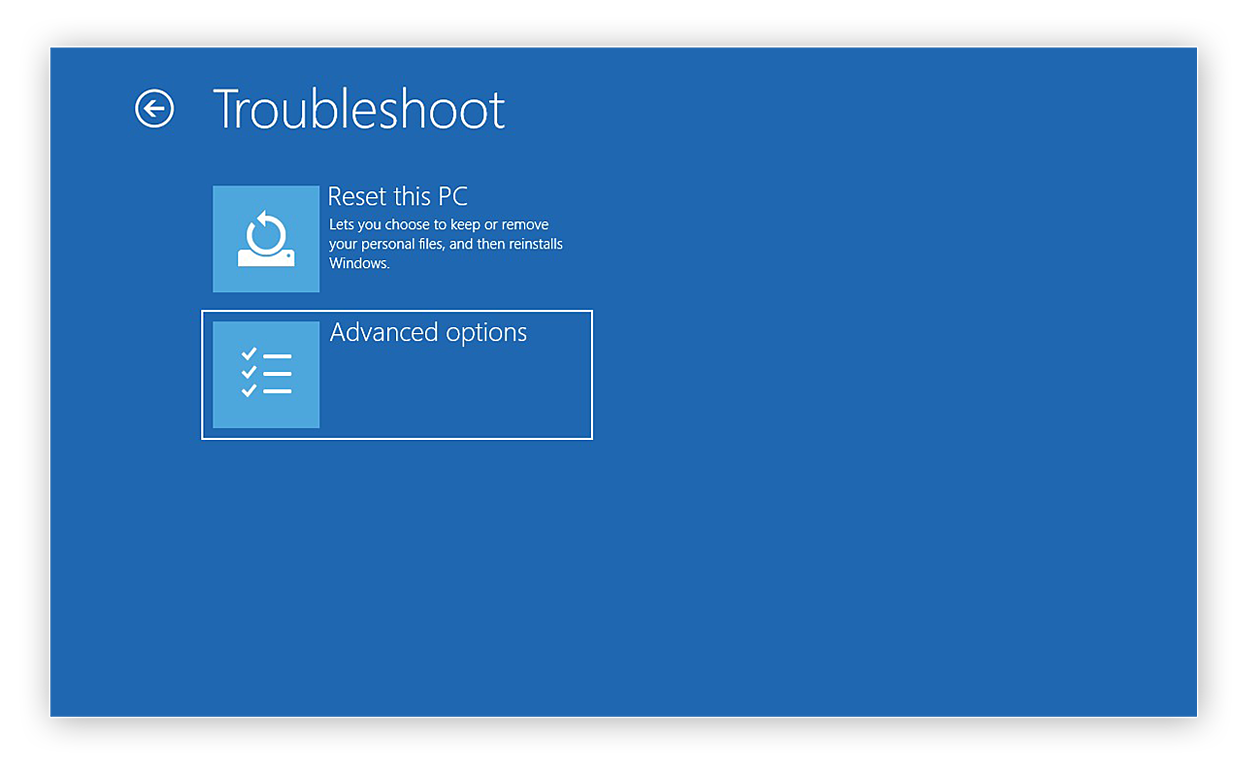 Selecting the Advanced options from the Troubleshoot menu Windows 10