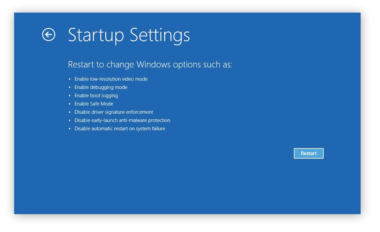 Choosing to restart and change startup settings in Windows 10