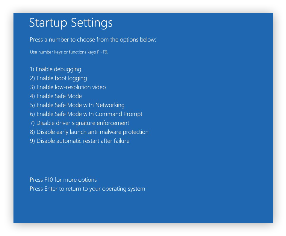 The advanced Startup Settings from within the Troubleshoot menu in Windows 10