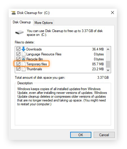 Choosing to delete Temporary Files and other types of files within the Disk Cleanup app in Windows 10