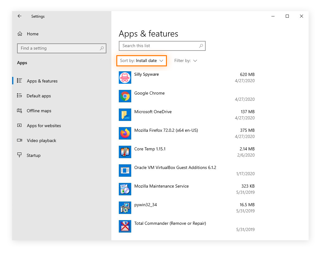 Sorting apps & features by install date in the Apps settings for Windows 10