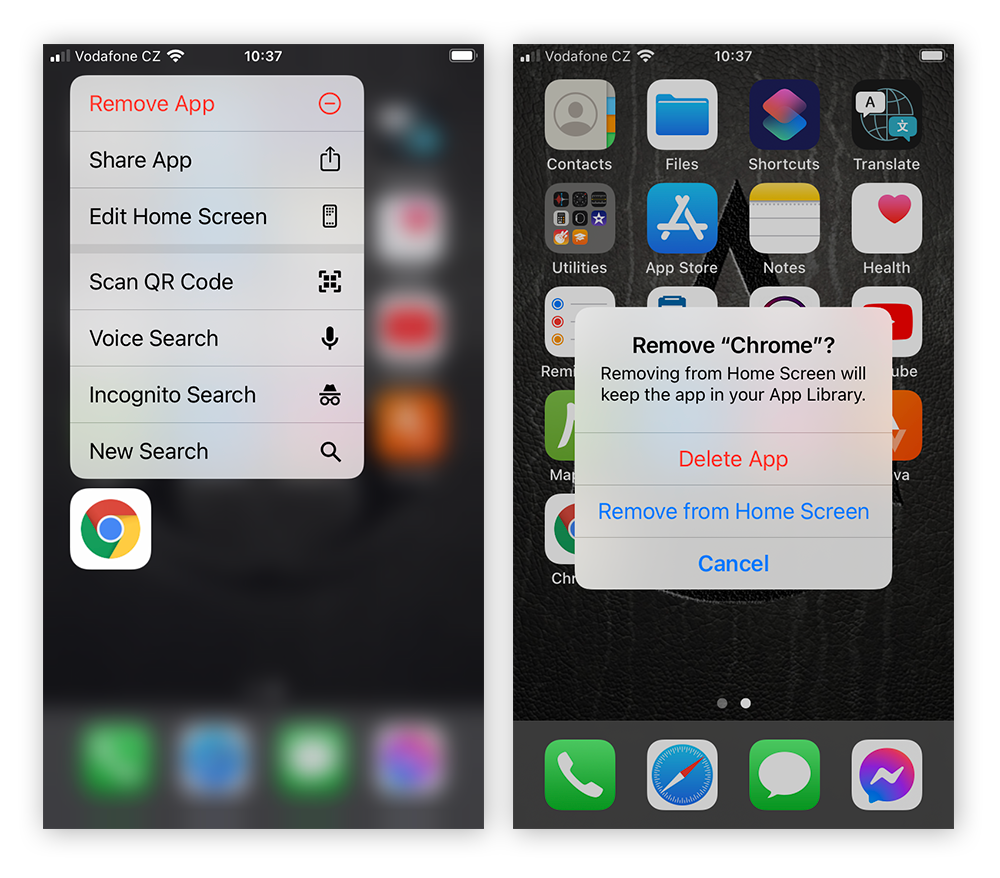 Screenshot of iPhone home screen with option to confirm deletion of an app.