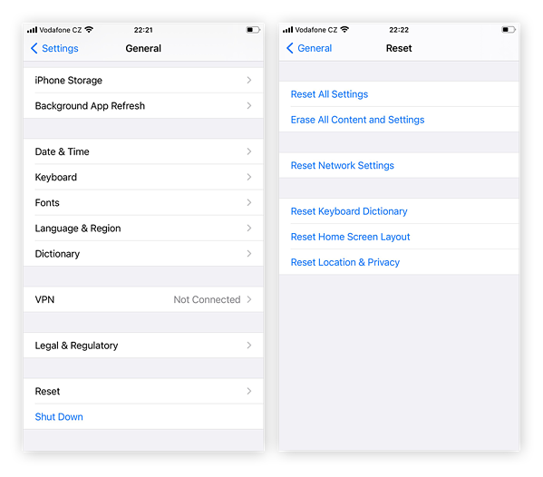 Options within the General tab of Settings app on iPhone. Reset option for restoring factory settings is at bottom.