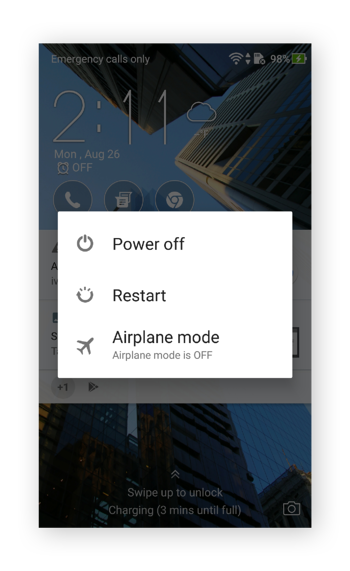 The Power menu in Android 7.0