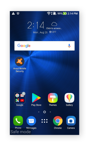 The home screen in Android 7.0, showing that safe mode is enabled