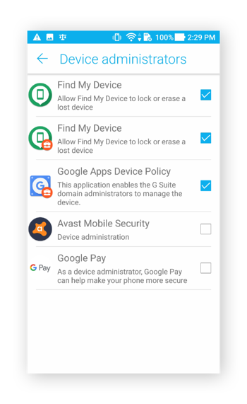 The Device Administrators menu in Android 7.0