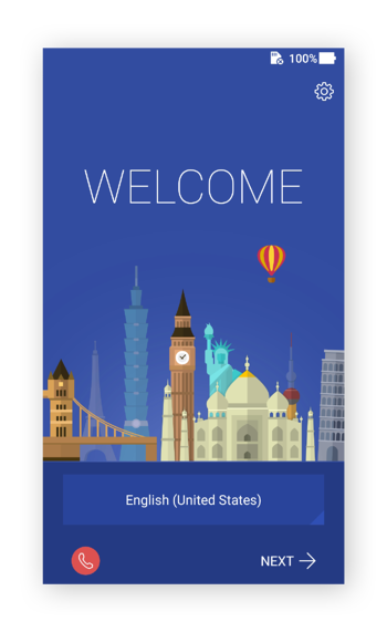 The Welcome screen in Android 7.0 on an Asus phone