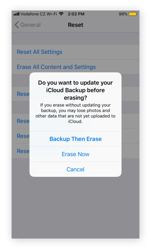 Erasing All Content and Settings in iOS 12.4