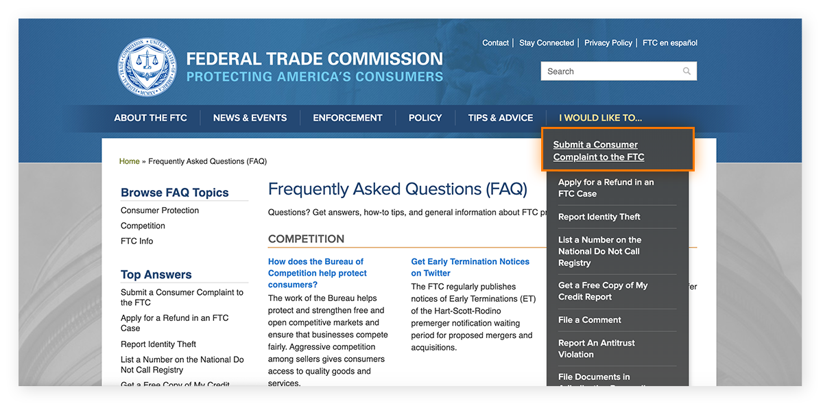The Federal Trade Commission webpage with the option to submit a consumer complaint