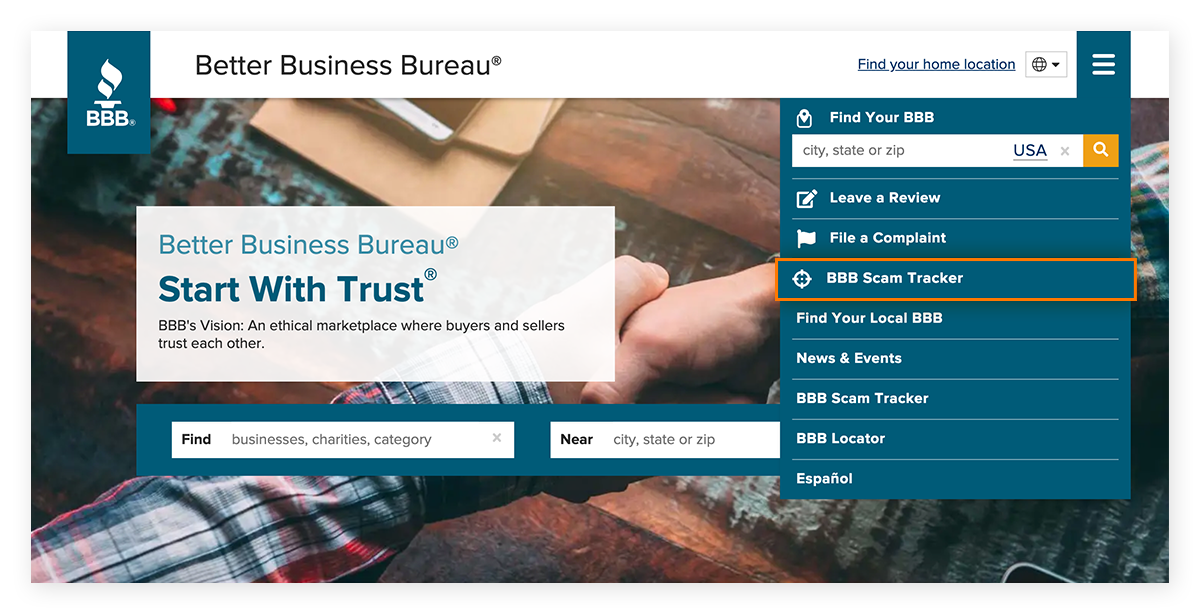 The Scam Tracker section on the Better Business Bureau website