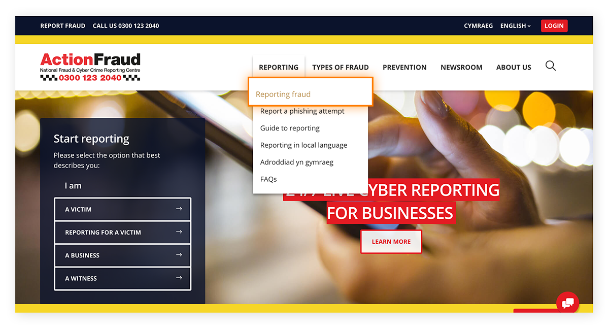 Action Fraud website with an option to report a fraud