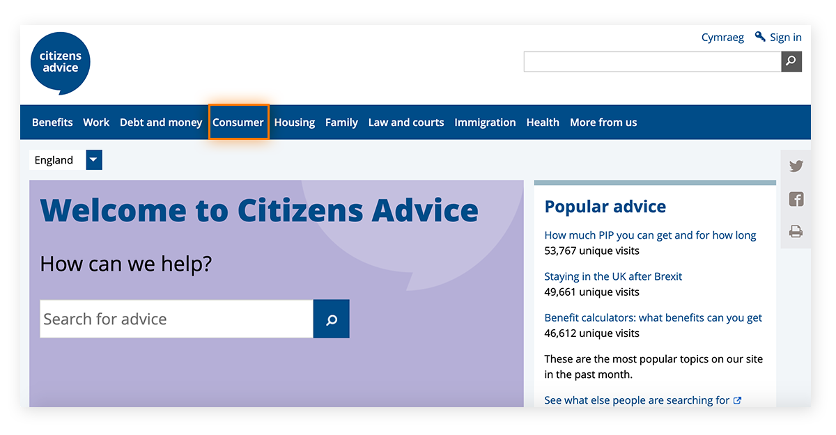 To file a scam complaint with Citizens Advice, you must first select Consumer.