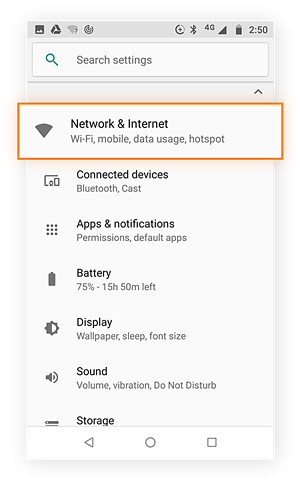 Settings menu with Network and Internet option selected