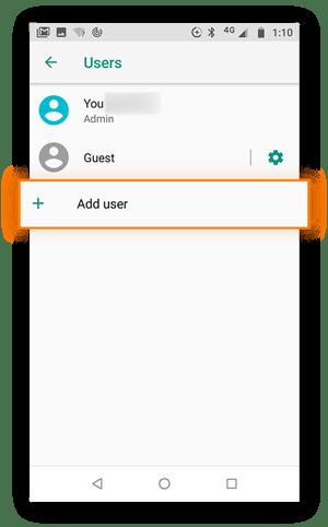 """Seite """"Benutzer"""" im Menü """"Einstellungen"""", Option """"Benutzer hinzufügen"""" ist markiert."""
