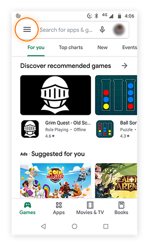 Google play store home screen with menu button highlighted.