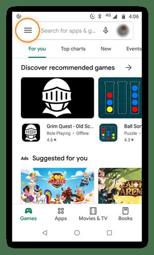 Startbildschirm von Google Play Store mit markierter Menüschaltfläche.