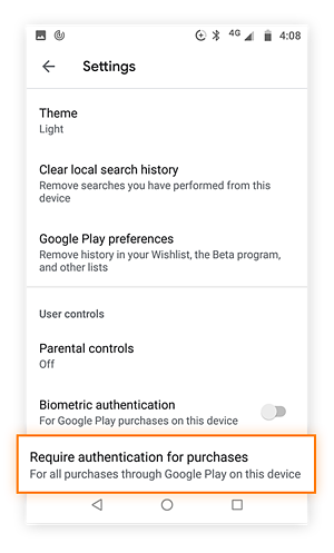 Google play store settings menu with Require Authentication for purchases highlighted.