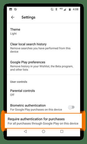 """Google Play Store-Einstellungsmenü mit markierter Option """"Authentifizierung für Käufe erforderlich""""."""