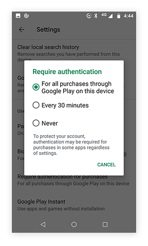 Pop up window of options for requiring authentication in the Google play sore. Require for all purchases is selected.