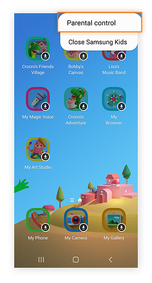 Samsung Kids-Startbildschirm mit ausgewählter Kindersicherungsoption im Menü oben rechts.