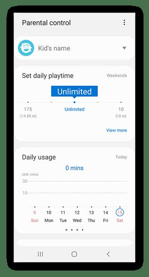 Samsung Kids parental controls settings menu.