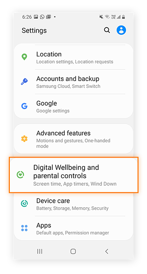 Android or Samsung settings menu with Digital Wellbeing and parental controls highlighted.
