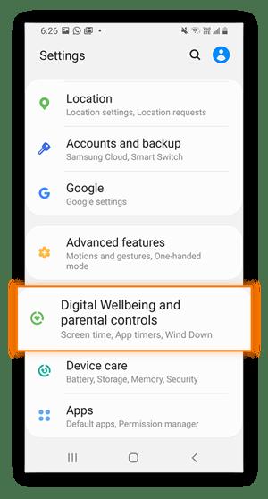 """Android- oder Samsung-Einstellungsmenü mit markierter Option """"Digital Wellbeing & Jugendschutzeinstellungen""""."""
