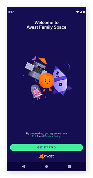 The Avast Family Space welcome screen showing how to get started.
