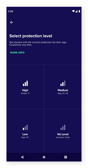 Selecting protection level in Avast Family Space, from high, medium, low, or none.