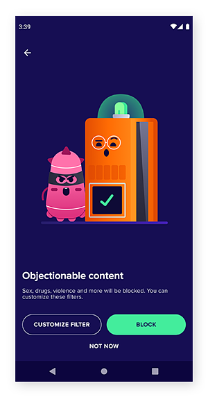 Avast Family Space's objectionable content filter screen.
