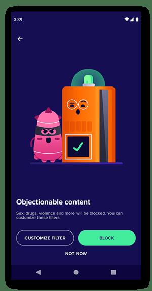 Der Filterbildschirm für anstößige Inhalte von Avast Family Space.
