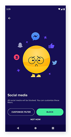 Avast Family Space's social media filter screen.