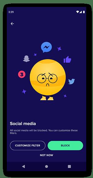 Der Filterbildschirm für soziale Medien von Avast Family Space.