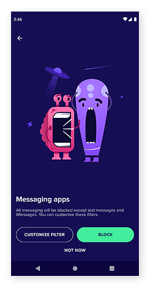 Avast Family Space's messaging apps filter screen.