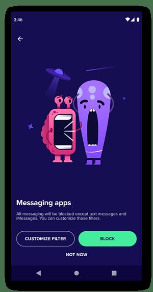 Der Filterbildschirm für Messaging-Apps von Avast Family Space.