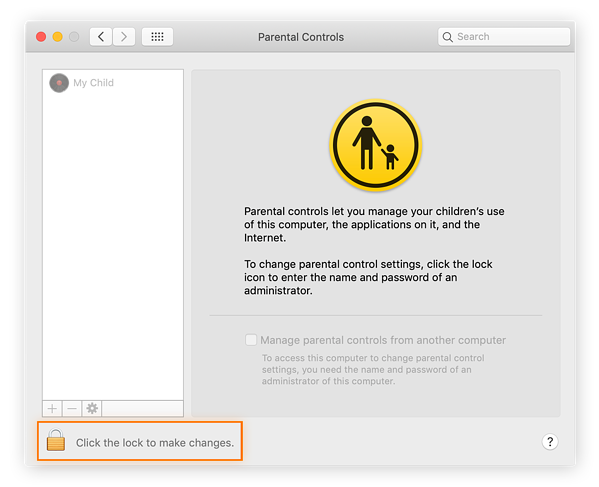 Step 3 for how to set parental controls on Mac. Unlock Parental Controls by clicking on the lock icon.