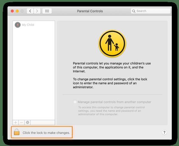 Etapa 3 para definir controles dos pais no Mac. Para desbloquear o controle parental, clique no ícone de cadeado.