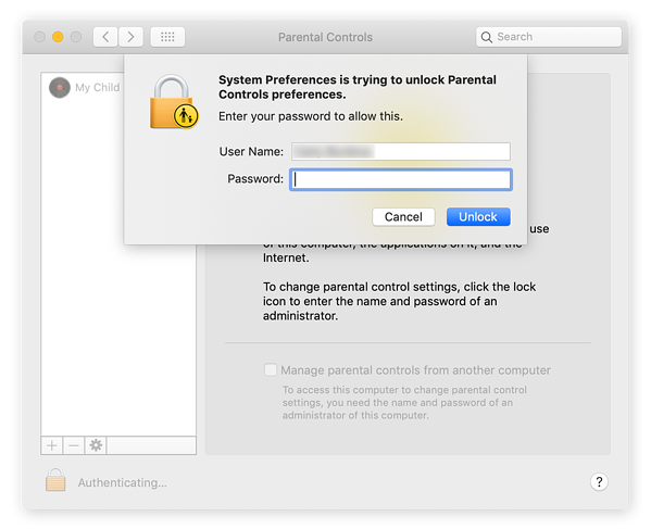 Step 3 for how to set parental controls on Mac. Enter password to access Parental Controls panel, select account.