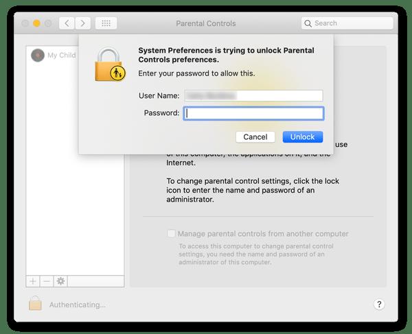 Etapa 3 para definir controles dos pais no Mac. Digite a senha para acessar o painel de controle parental e escolha a conta.