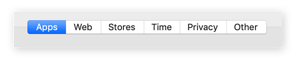 Etapa 4 para definir controles dos pais no Mac. Selecione para modificar Apps, Web, Lojas, Tempo, Privacidade e Outros.