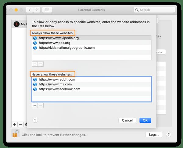 Bloqueie sites específicos no painel Controles dos Pais (guia Web) para limitar o acesso a conteúdo impróprio.