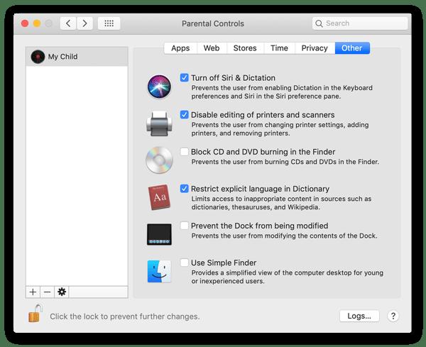 """O painel de navegação """"Outros"""" dentro do painel de Controles dos Pais permite desativar a Siri, impedir a modificação do Dock, entre outras ações."""