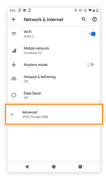 Open up your advanced options in Network settings.