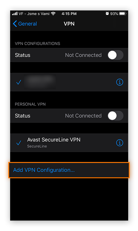 "The VPN settings in iOS 13, highlighting the ""Add VPN Configuration..."" option"