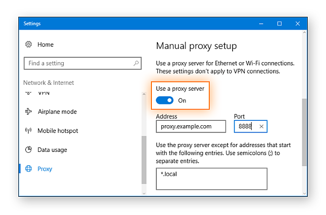 Set Windows 10 manual proxy server settings.