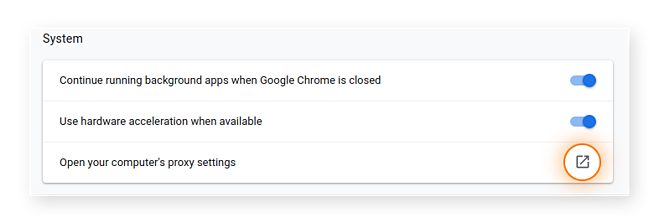 Set Chrome proxy server settings.