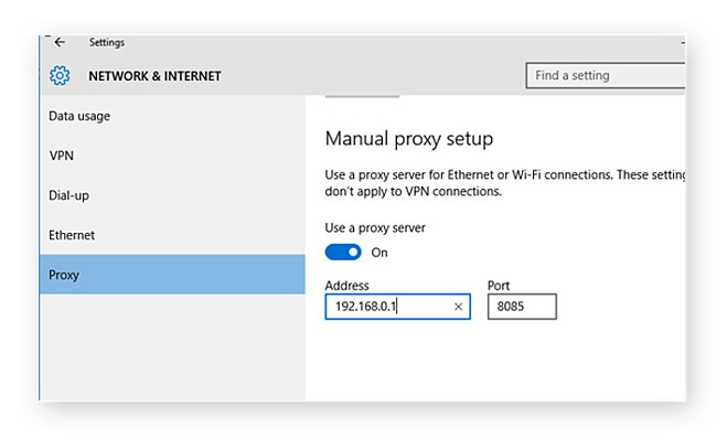 Set Edge proxy server settings.