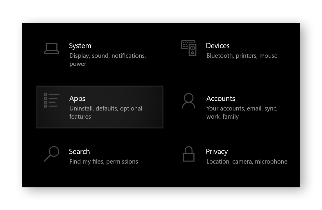 Apps section of the Windows 10 control panel