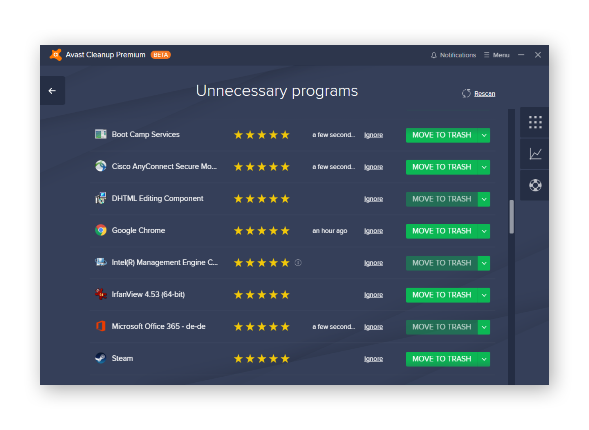 Avast Cleanup Unnecessary programs feature