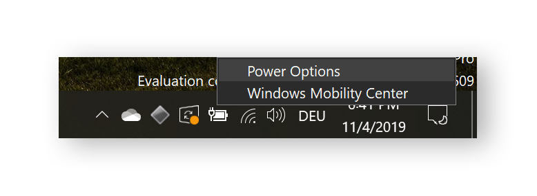 Accessing Windows power options